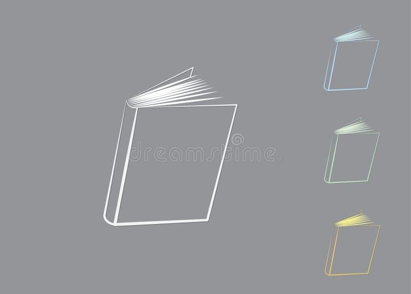 Een reeks boekemblemen met het in de schaduw stellen om kennis voor universiteit en bibliotheek te delen stock illustratie