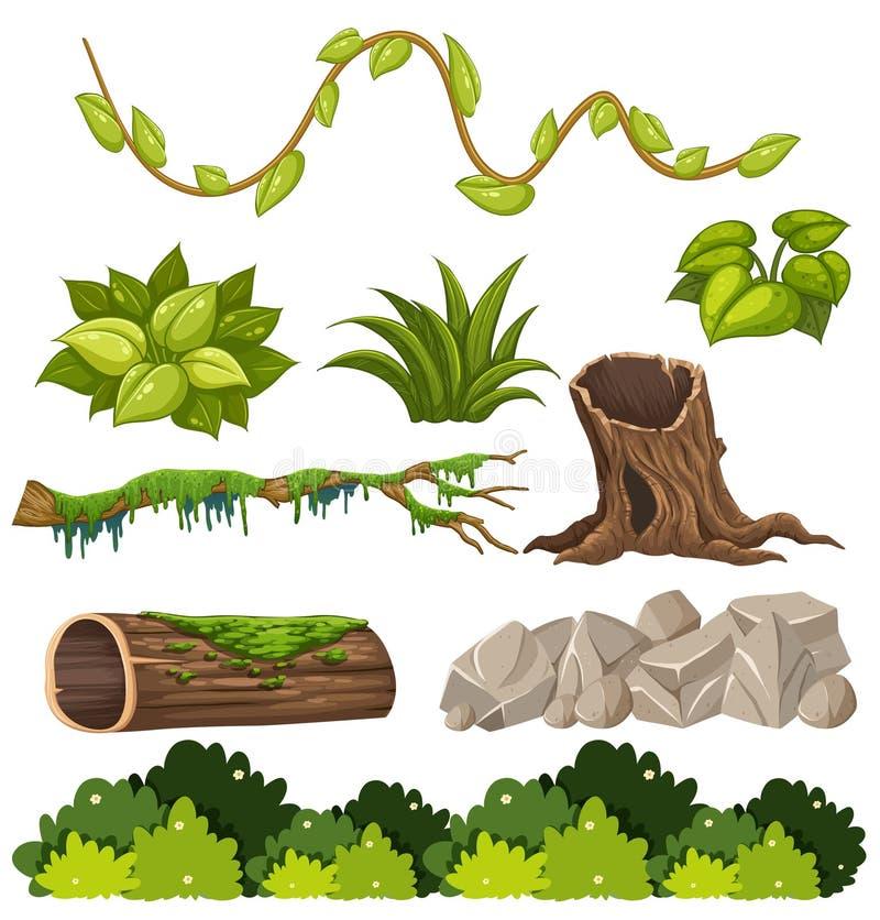 Een reeks boselementen stock illustratie
