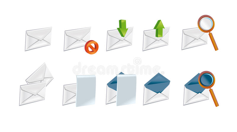 Een reeks brievenpictogrammen royalty-vrije illustratie