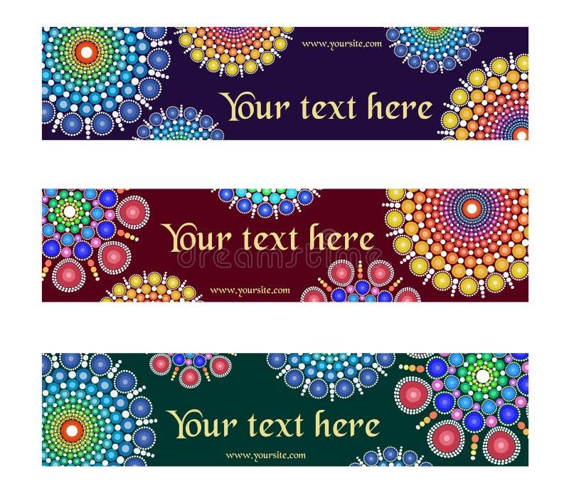 Een reeks buitensporige ontwerpen met cirkel multicolored gestippelde ornament grafische elementen voor banner, kopbal, website,  stock illustratie