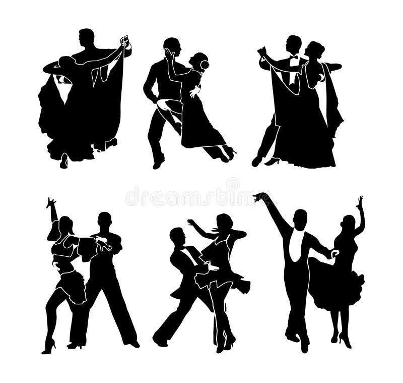 Een reeks dansende paren royalty-vrije illustratie