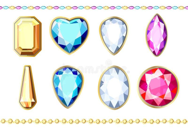 Een reeks diamanten van verschillende kleuren en verschillende besnoeiing royalty-vrije illustratie