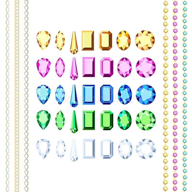 Een reeks diamanten van verschillende kleuren en verschillende besnoeiing stock illustratie