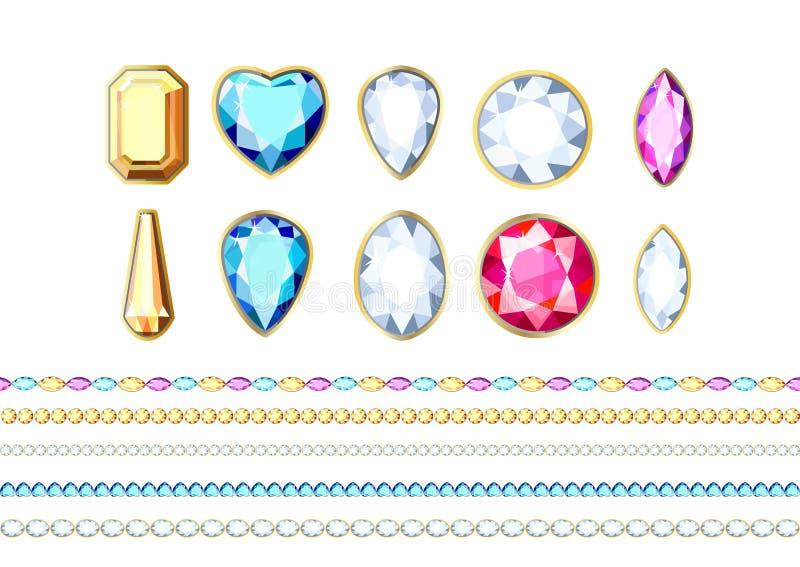 Een reeks diamanten van verschillende kleuren en verschillende besnoeiing vector illustratie