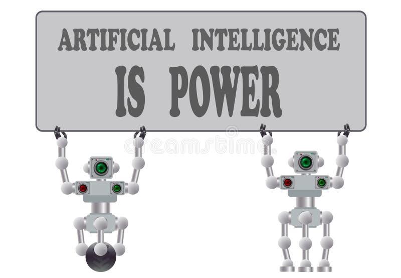 Een reeks diverse humanoidrobots Vector illustratie royalty-vrije illustratie