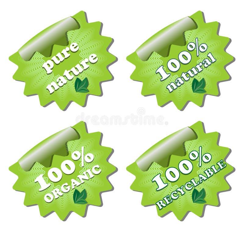 Een reeks ecologie groene etiketten stock illustratie