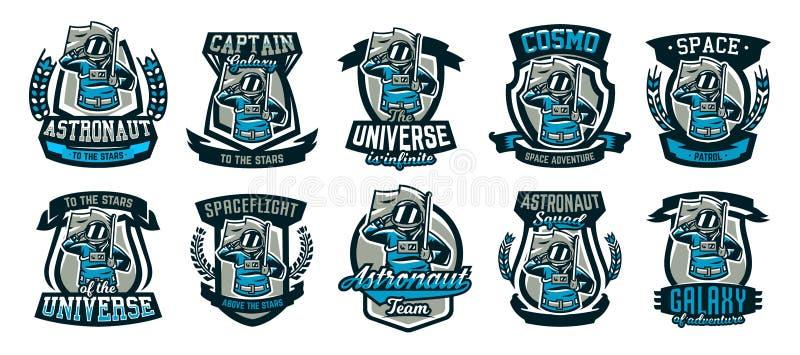 Een reeks emblemen, emblemen, een astronaut groet en houdt een vlag Vlucht aan de maan, ruimte, intergalactische reis vector illustratie