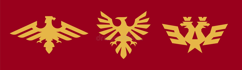 Een reeks emblemen, wapenkunde, adelaar Vogel, vleugels, kroon, ster, Russisch symbool Vectorillustratie, een vlakke stijl royalty-vrije illustratie