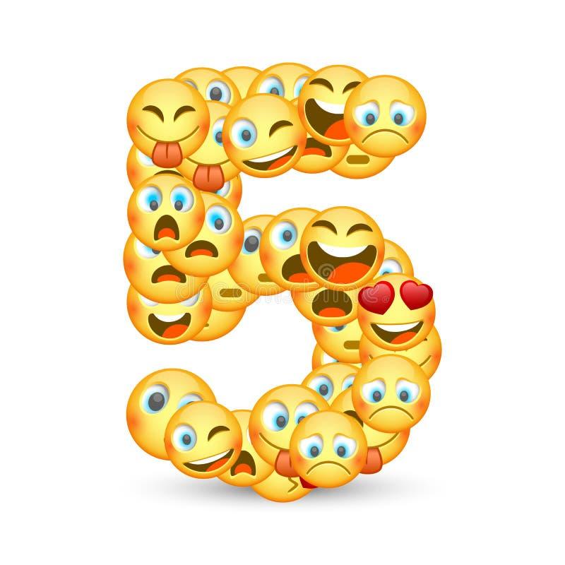 Een reeks emoticons als vijf aantal gestalte dat wordt gegeven dat vector illustratie