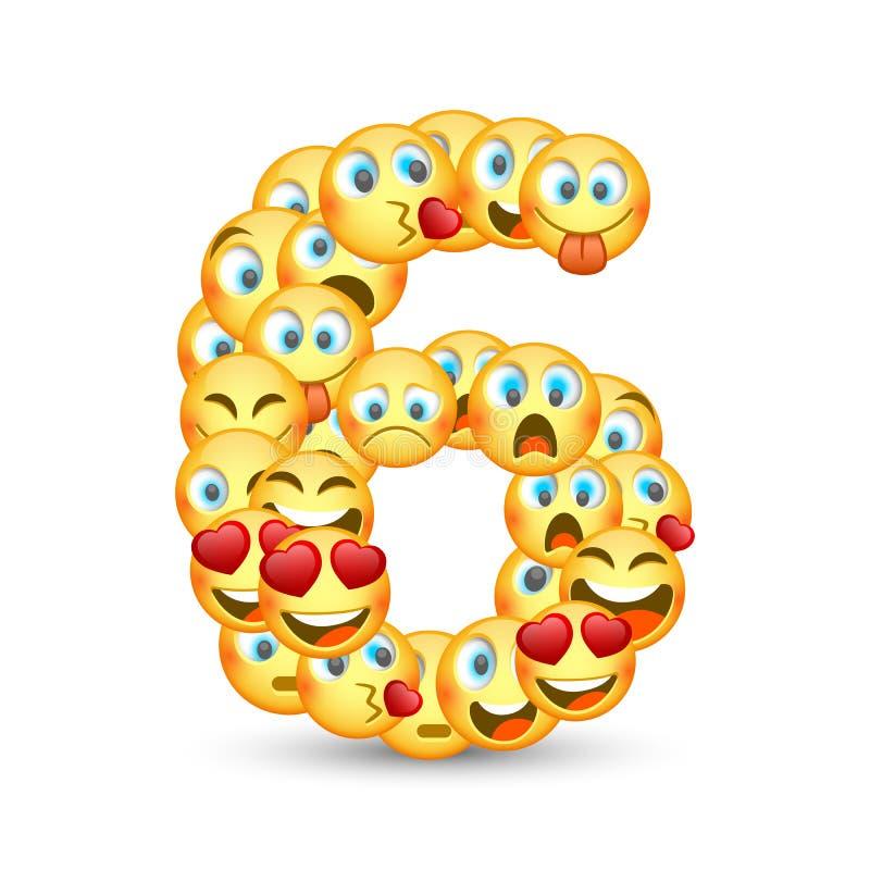 Een reeks emoticons als zes aantal gestalte dat wordt gegeven dat vector illustratie