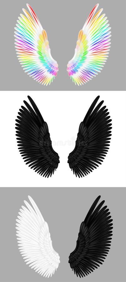 Een reeks engelenvleugels stock illustratie