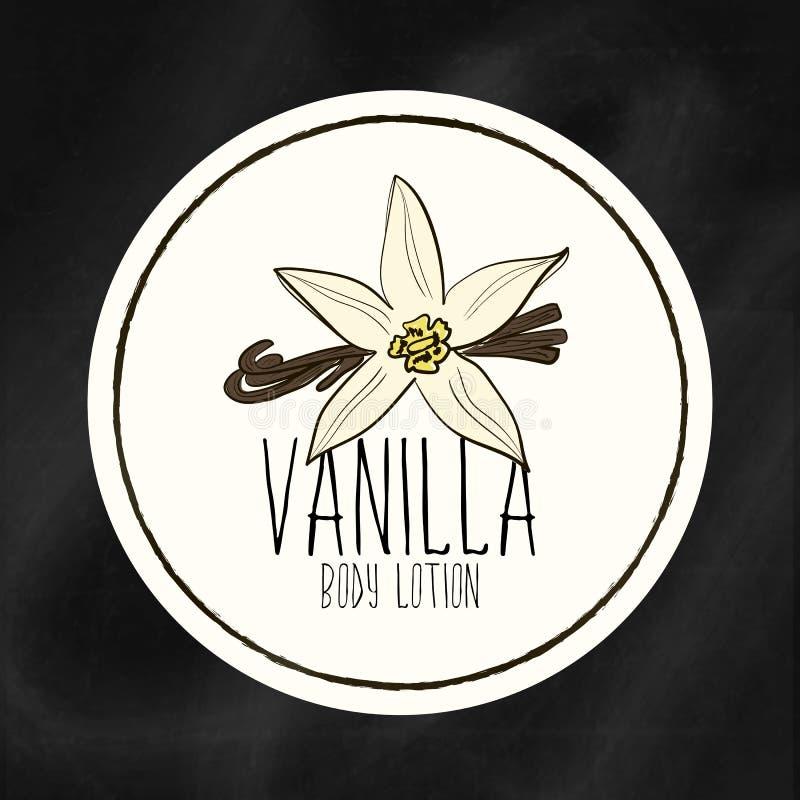 Een reeks etiketten met kaders voor schoonheid en gezondheid Vanille bevochtigende lotion voor lichaam en handen Vector stock fotografie
