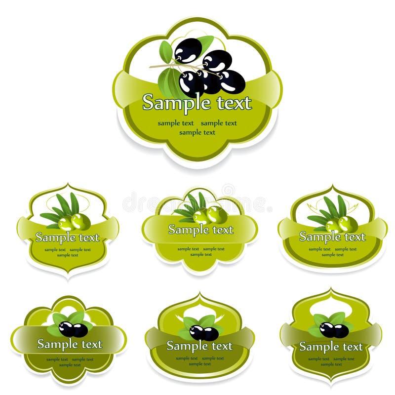 Een reeks etiketten met olijven vector illustratie