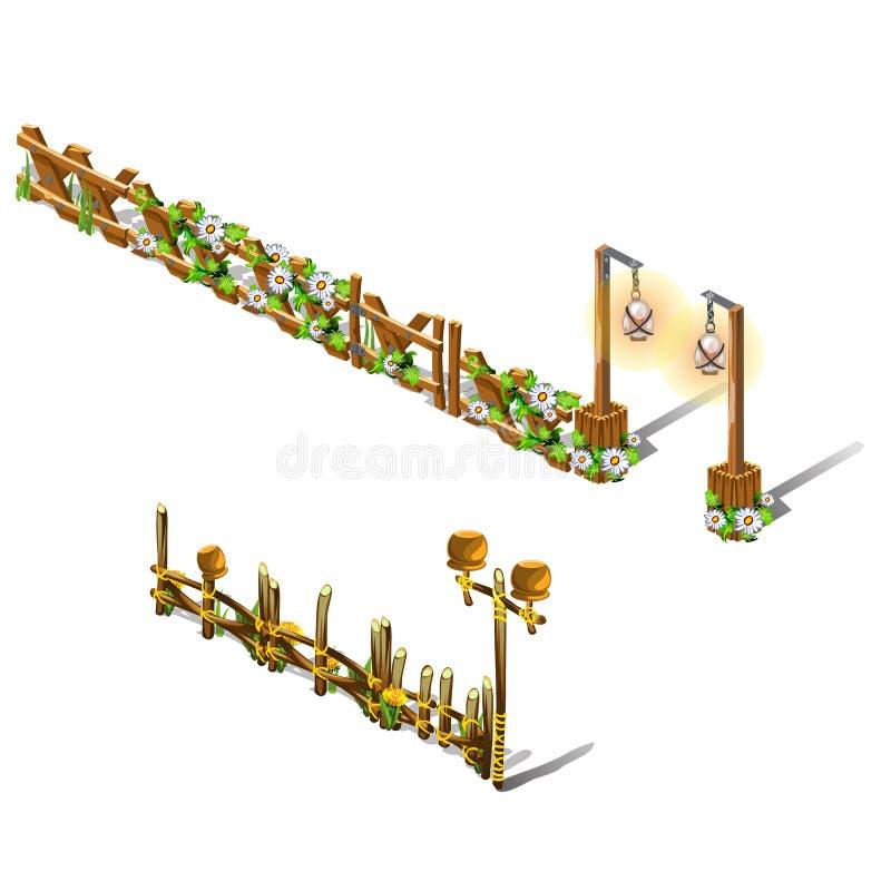 Een reeks fragmenten van een houten die omheining met verse die bloemen wordt verfraaid op witte achtergrond worden geïsoleerd Ve royalty-vrije illustratie