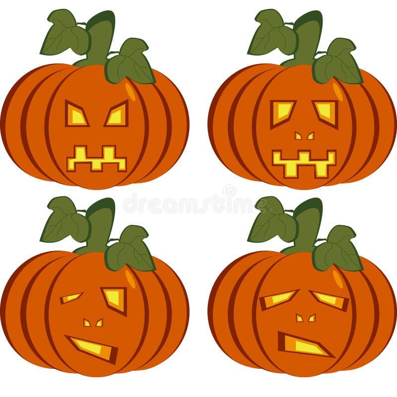 Een reeks geïsoleerde pictogrammen van donkeroranje pompoenen vector illustratie
