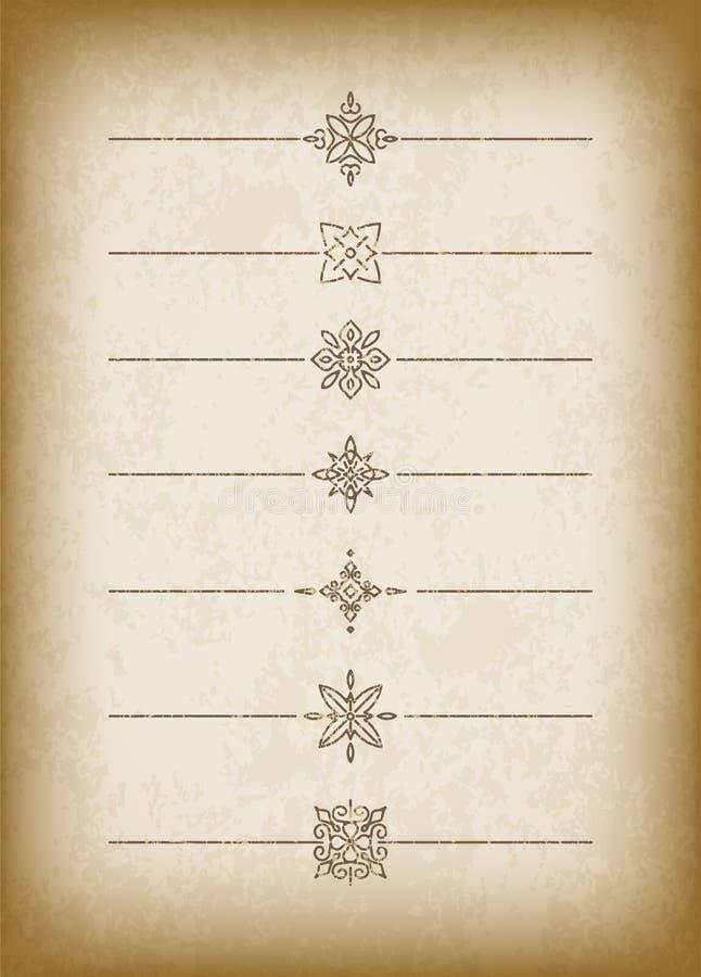 Een reeks gebarsten ouderwetse verdelers op een edele oude document backgro vector illustratie