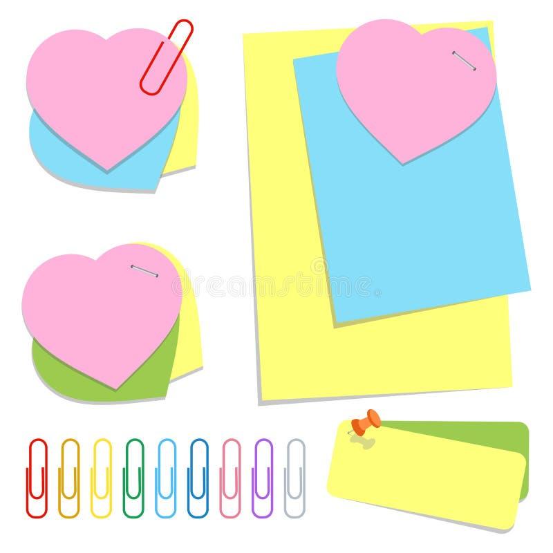 Een reeks gekleurde bureau kleverige bladen van verschillende vormen, duwspelden en klemmen Eenvoudige vlakke vectordieillustrati royalty-vrije illustratie