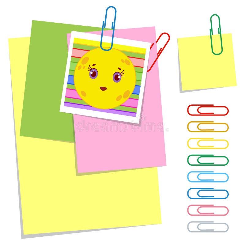 Een reeks gekleurde bureau kleverige en gewone bladen en paperclippen Eenvoudige vlakke vectordieillustratie op witte achtergrond vector illustratie