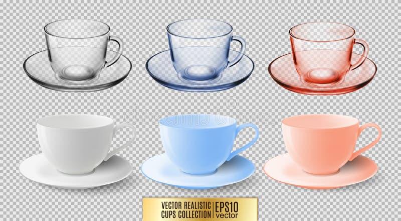 Een reeks glas en ceramische theekoppen Transparante multicolored glasmokken Hoog gedetailleerde vectorillustratie van kleurrijk vector illustratie