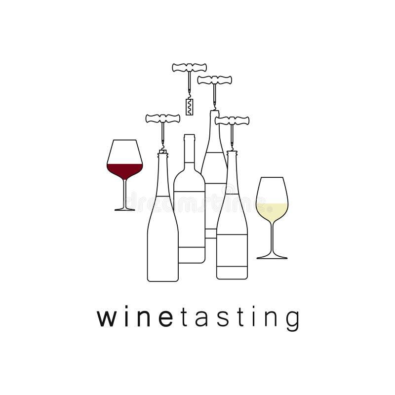 Een reeks glazen en wijnflessen vector illustratie
