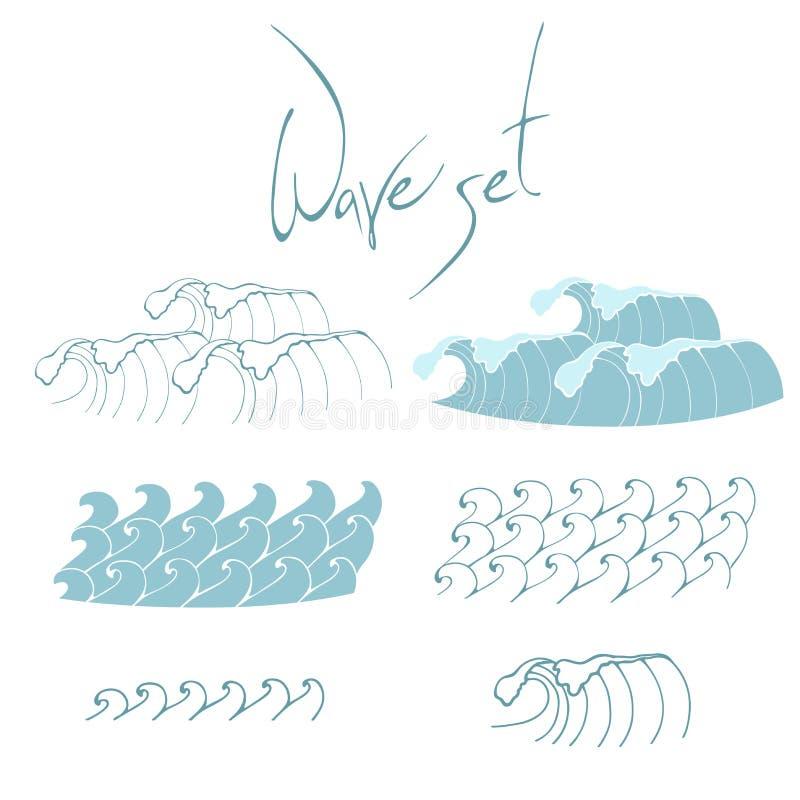 Een reeks golven in de stijl van een kinderen` s illustratie