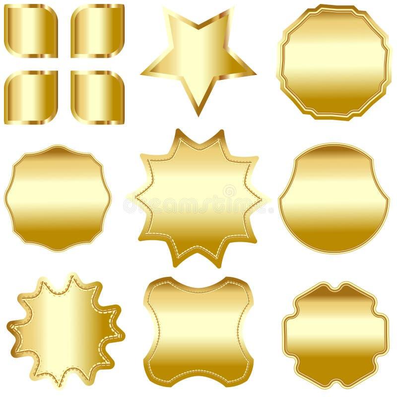Een reeks gouden ontworpen die kentekens, etiketten en schilden, op wit worden geïsoleerd stock illustratie