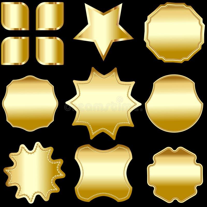 Een reeks gouden ontworpen die kentekens, etiketten en schilden, op zwarte worden geïsoleerd royalty-vrije illustratie