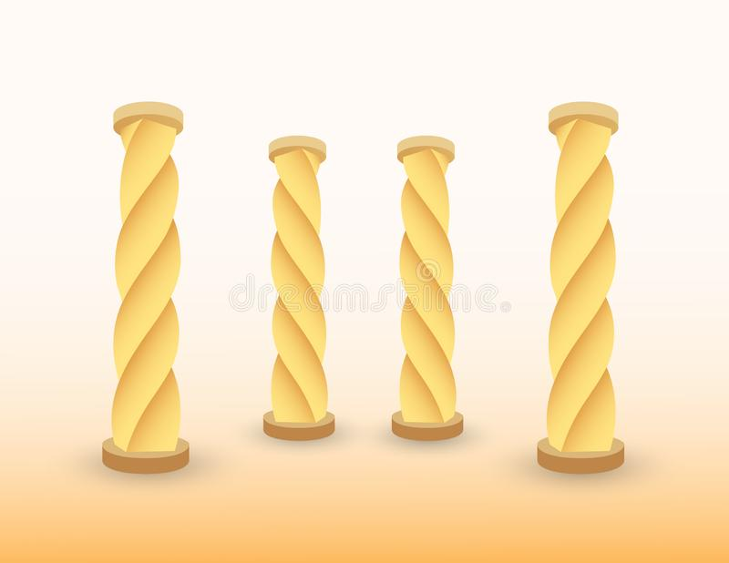 Een reeks gouden pijlers of kolommen van het inbouwen van voorhistorische periodevector royalty-vrije illustratie