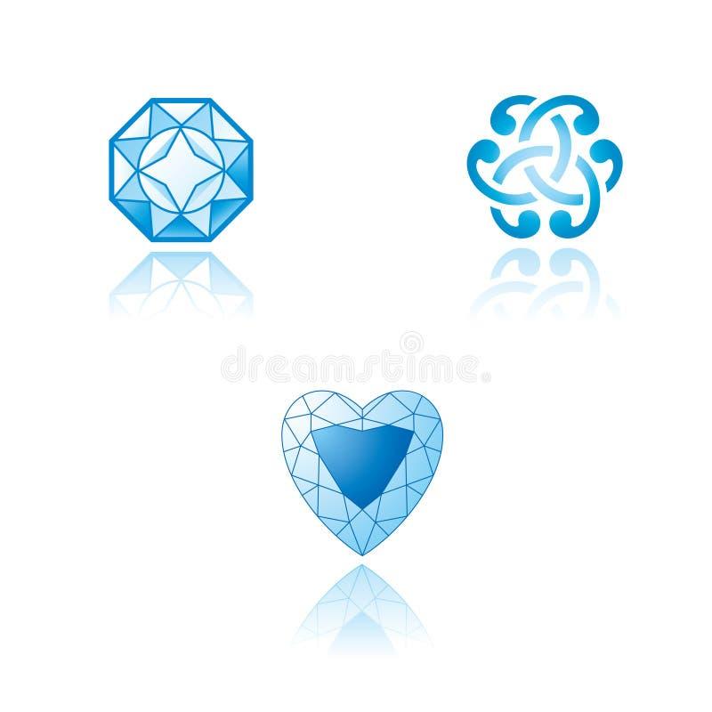 Een reeks grafische symbolen op juwelenthema stock illustratie