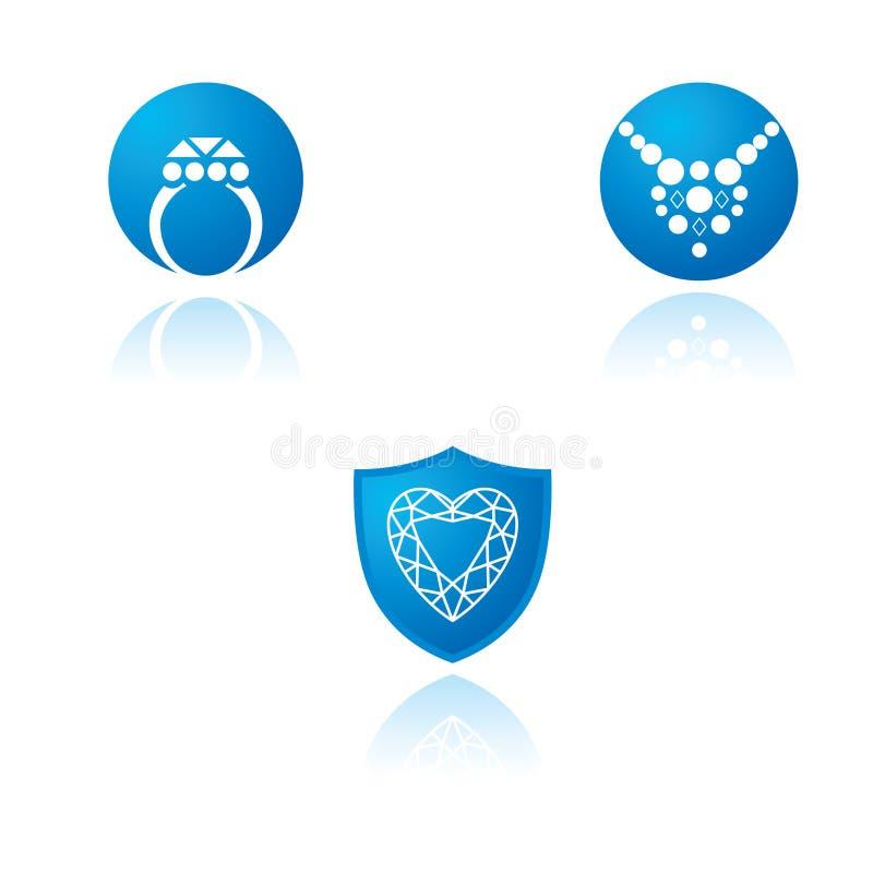 Een reeks grafische symbolen op juwelenthema royalty-vrije illustratie