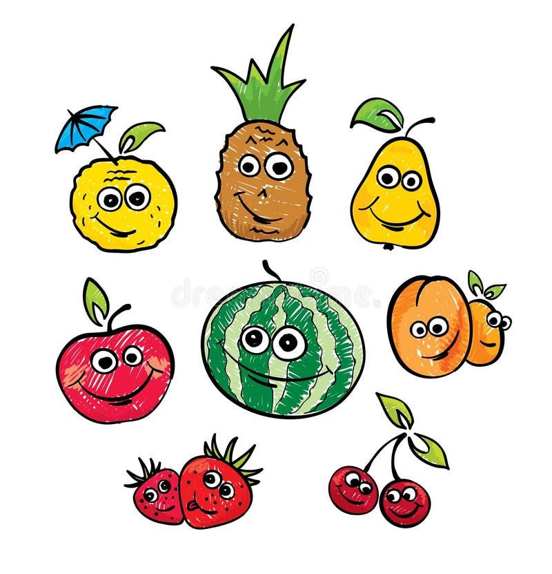 Een reeks grappige vruchten vector illustratie