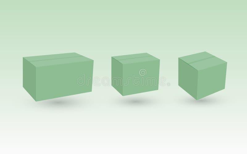 Een reeks groene kartondozen die milieuvriendelijk zijn om pakket voor zaken te leveren royalty-vrije illustratie