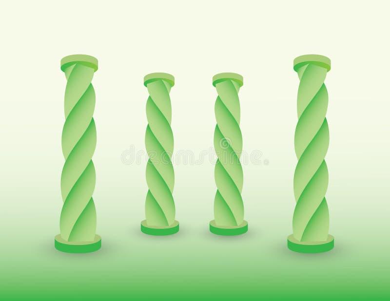 Een reeks groene pijlers of kolommen van het inbouwen van voorhistorische periodevector vector illustratie