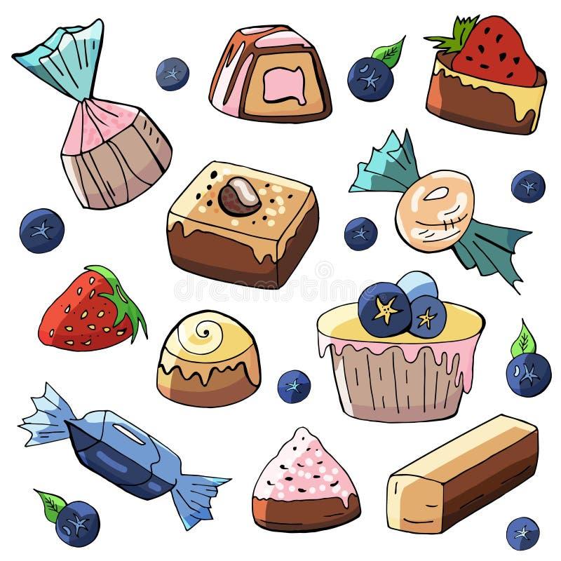Een reeks hand-drawn snoepjes en cakes op een witte achtergrond stock illustratie