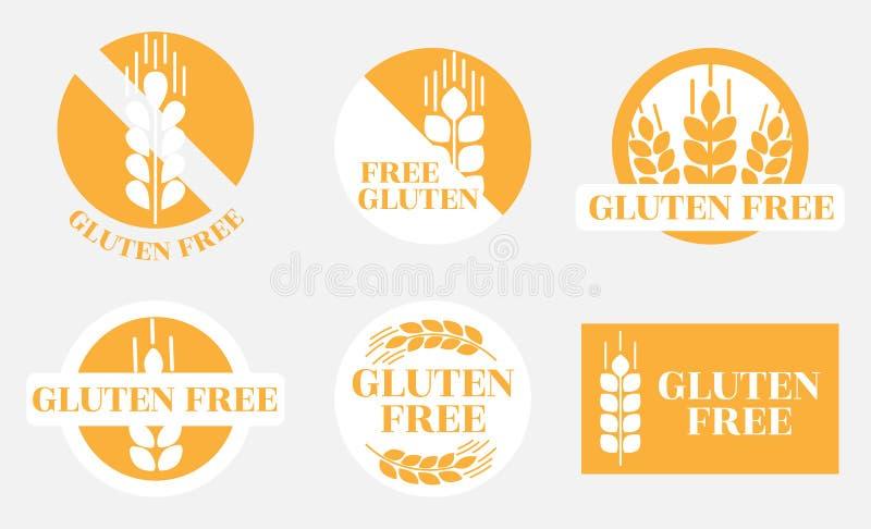 Een reeks handelsmerken met beelden en informatie over het gebrek aan gluten in de producten royalty-vrije illustratie