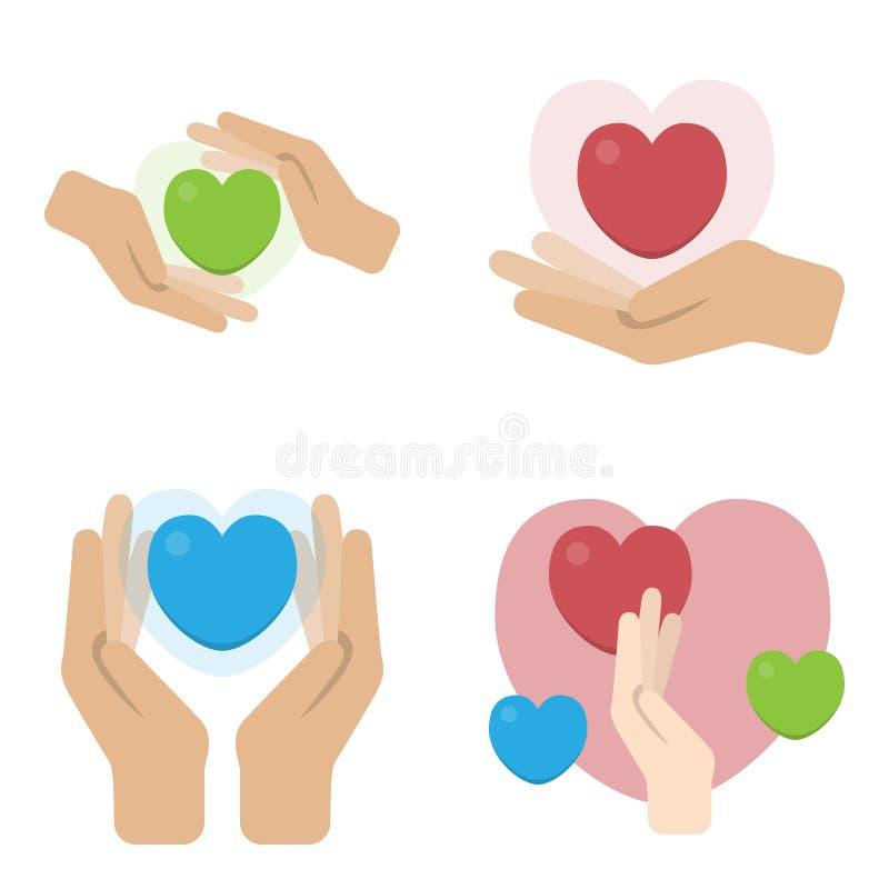 Een reeks handen met harten Liefdadigheidspalmen met gekleurde die harten op een witte achtergrond worden geïsoleerd Vector illus stock illustratie