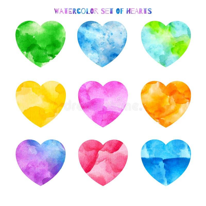Een reeks harten van verschillende kleuren in waterverf stock illustratie