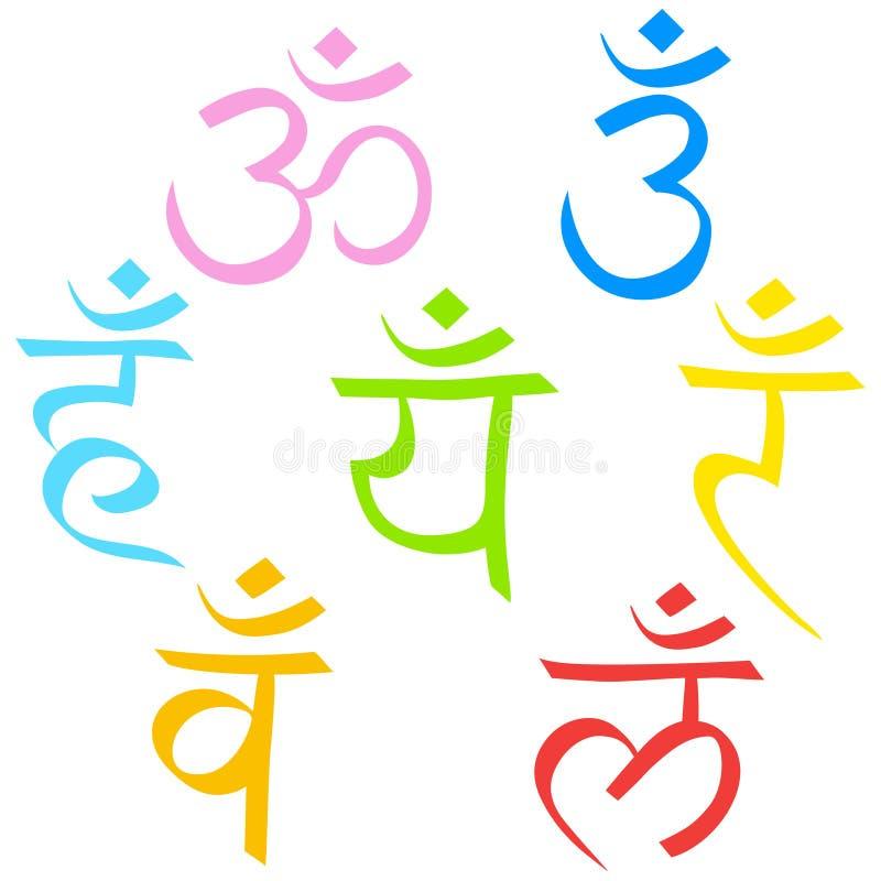 Een reeks hiërogliefen van Sahasrar, Ajna, Vishudha, Anahata, Manipura, Svadhistana, Muladhara-chakras Vector geïsoleerde symbole vector illustratie