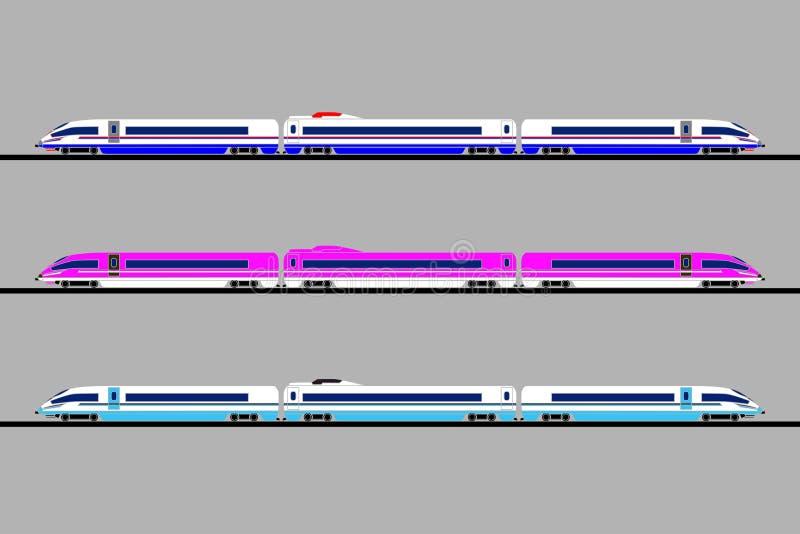 Een reeks hogesnelheidstreinen van verschillende kleuren op een grijze achtergrond Vector vlak ontwerp vector illustratie