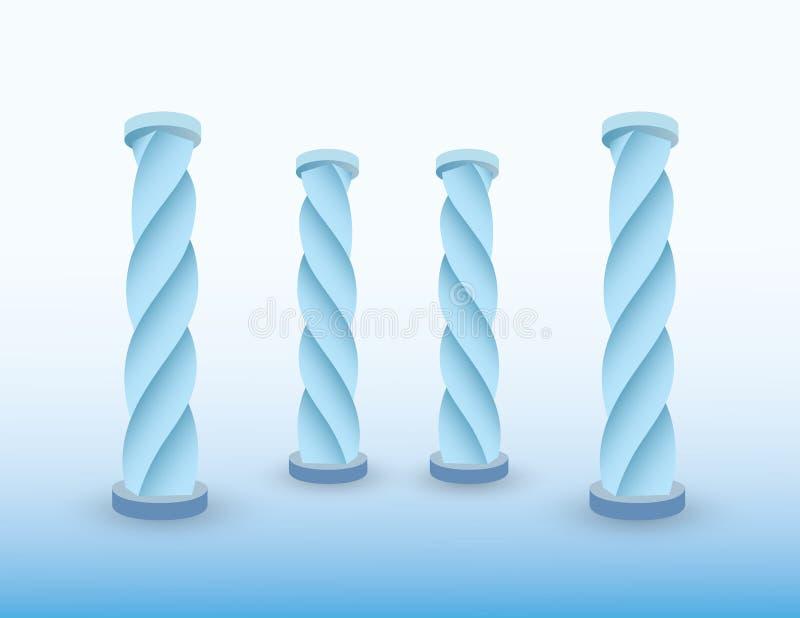 Een reeks ijs blauwe pijlers of kolommen van het inbouwen van voorhistorische periodevector vector illustratie