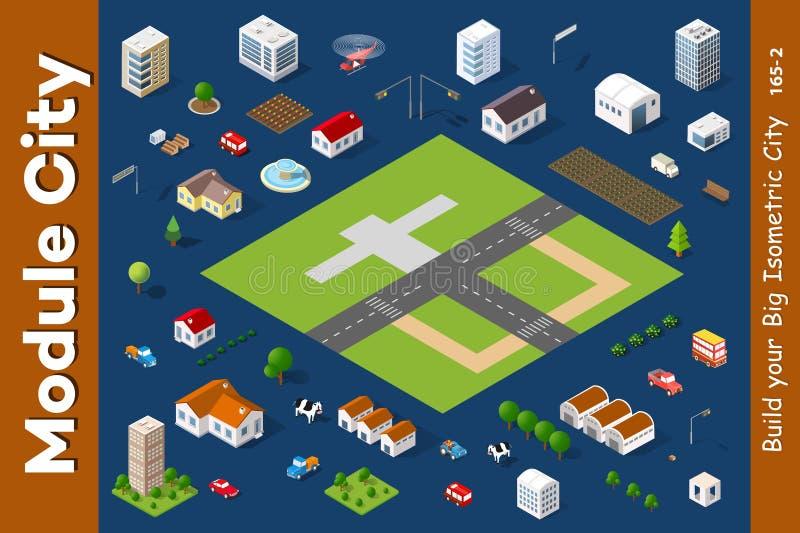 Een reeks isometrische huizen royalty-vrije illustratie