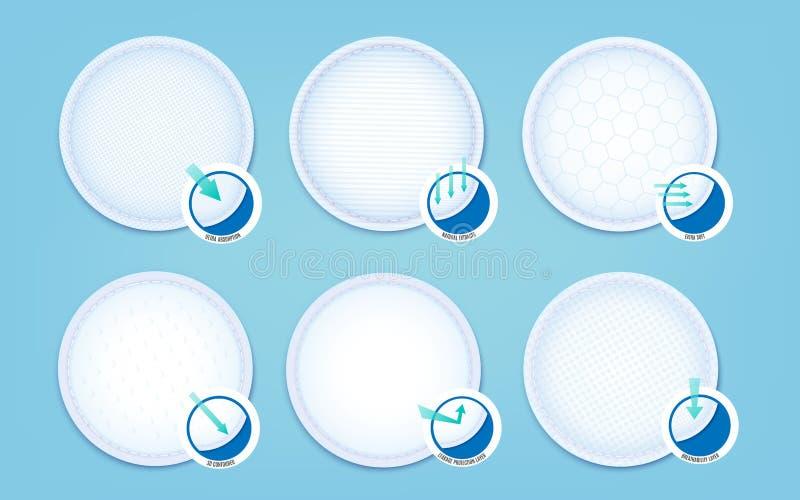Een reeks katoenen stootkussens voor zachte hypoallergenic absorptievoeringen en ultramaandverbanden stock illustratie