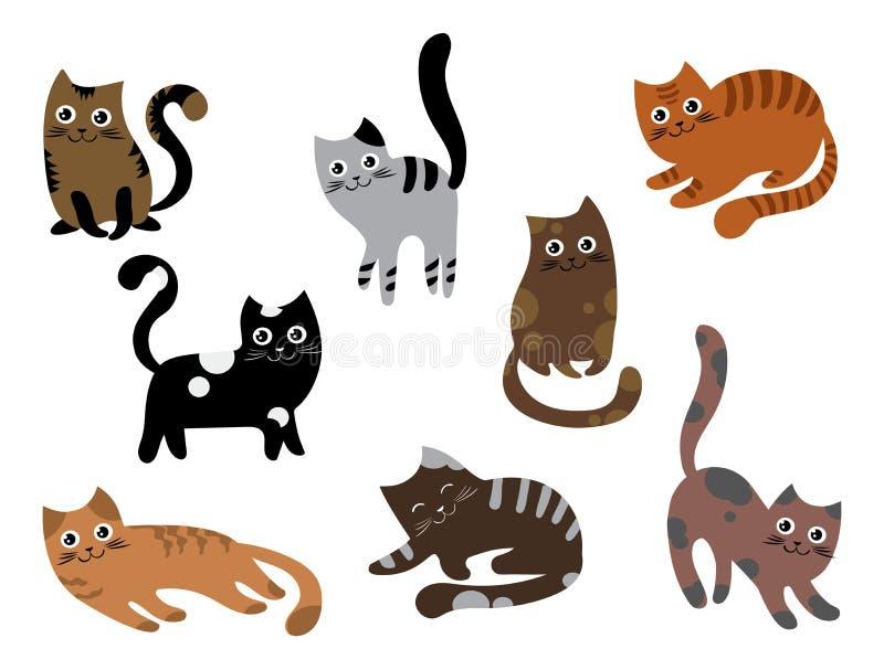 Een reeks katten Een inzameling van beeldverhaalkatjes van verschillende kleuren Speelse huisdieren Mooie gekleurde katten Vector stock illustratie
