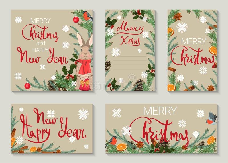 Een reeks Kerstmis en Nieuwjaargroetkaarten royalty-vrije illustratie