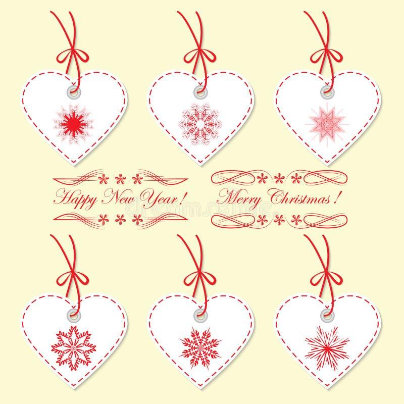 Een reeks Kerstmismarkeringen, etiketten in de vorm van het hart stock illustratie