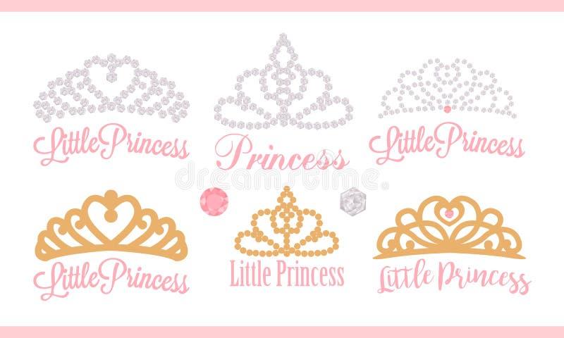 Een reeks kleine diademen Vectorontwerpelement voor koninklijke partijbaby, bruids douche; huwelijk: de gouden kroon van de verja royalty-vrije illustratie