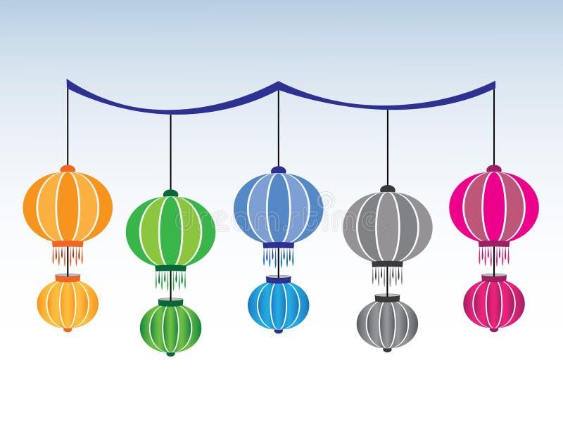 Een reeks kleurrijke Chinese traditionele lampen voor decoratie vector illustratie