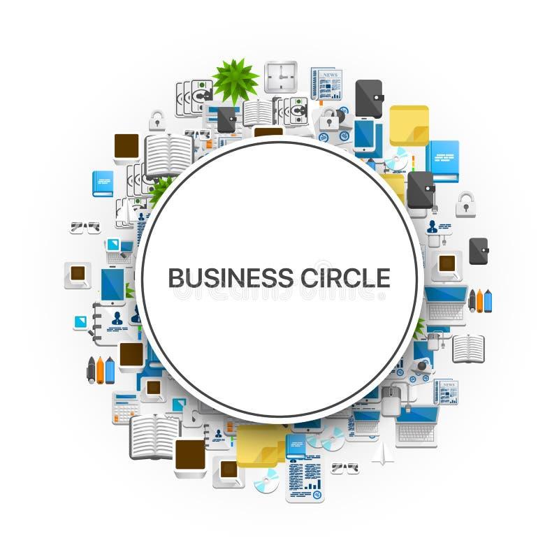 Een reeks kleurrijke geplaatste pictogrammen vormde als cirkel met een titelzakenkring Vector illustratie vector illustratie