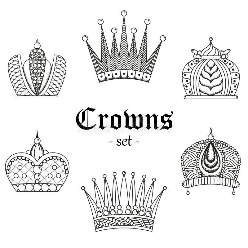 Een reeks kronen voor ontwerp vector illustratie