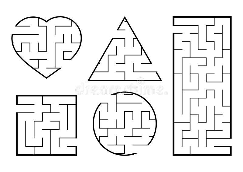 Een reeks labyrinten Spel voor jonge geitjes Raadsel voor kinderen Labyrintraadsel Vind de juiste weg Vector illustratie vector illustratie